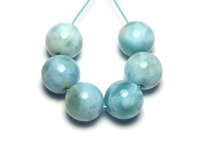 6 pcs LARIMAR 7mm Round Beads NATURAL Dominican Republic AAA
