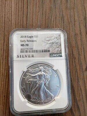 Gem Mint 2018 Silver American Eagle NGC MS70 Early Release $1. .999 pure