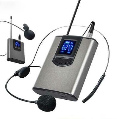 UHF Wireless Headset Microphone/Lavalier Lapel Mic with Bodypack Transmitter