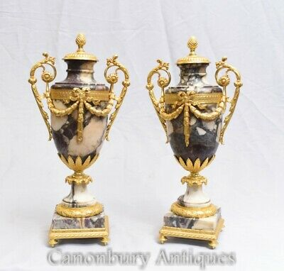 Pair Antique Marble Urns - French Empire Cassoulets Gilded 1860