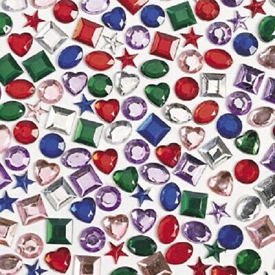 Pack of 500 Assorted Shape Adhesive Back Jewels Crafts Gems