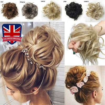 UK Large Thick Messy Bun Scrunchie Updo Wrap on Hair Extension Hair Piece Blonde