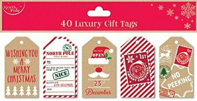 Christmas Gift Tags Pack 40 Labels Kraft Luggage Present Wrap Supplies Strings