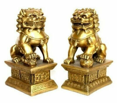 Chinese brass Copper Guardian Lion Foo Fu Dog Statue Pair