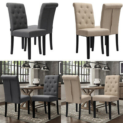2x Leisure Upholstery Grey Beige Fabric Dining Chair Wooden Legs Tub Chairs Home