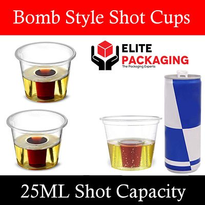 50 x Strong Reusable Jagerbomb Glasses Plastic Bomb Party Shots 25ml CE Marked