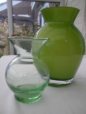 Vintage Retro Lime Green/White Cased Glass Posy Vases +Sm Green Vase Job Lot Vgc