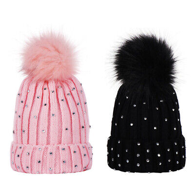 Toddler Girls Winter Rhinestone Beanies Hat Baby Pompom Knitted Warm Hat  1-3 Y
