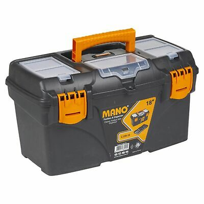 """18"""" Large Plastic Classic Tool Box Chest Lockable Storage With Handle 22x42x24cm"""