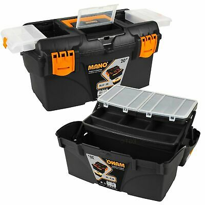"""20"""" Large Plastic Tool DIY Box Chest Lockable Removable Compartments Cantilever"""