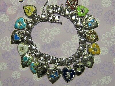 Vintage Sterling silver charm bracelet - 16 enameled puffy heart charms