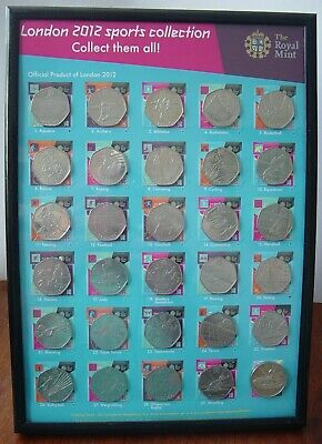Rare set of 2012 London Olympic 50p coins with completer medal in glassed frame.
