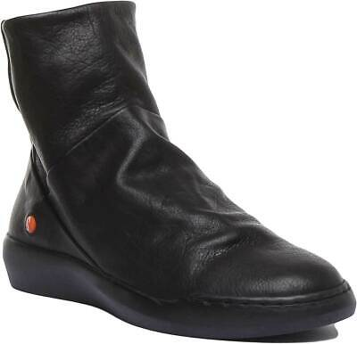 Softinos Womens Soft Leather Ankle Flat Slouch Boots In Black UK Sizes 3 - 7