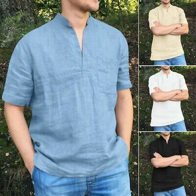 Men Short Sleeve Cotton T Shirt Summer V Neck Casual Top Blouse Henley Shirts US