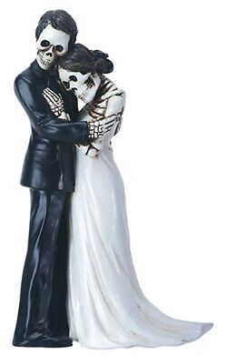Embracing Skeleton Wedding Couple Day of the Dead Dia de los Muertos Figurine