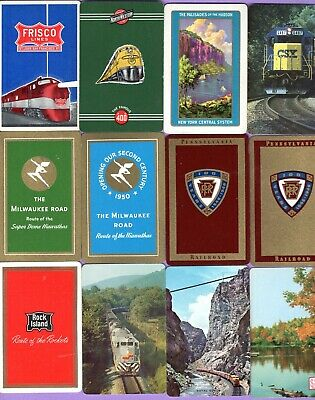 12 Single Swap Playing Cards TRAIN ADS #3a RAILROAD LINES OLD VINTAGE DECO