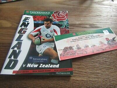 Investec Challenge Rugby Union - England v New Zealand in 2006 + Ticket