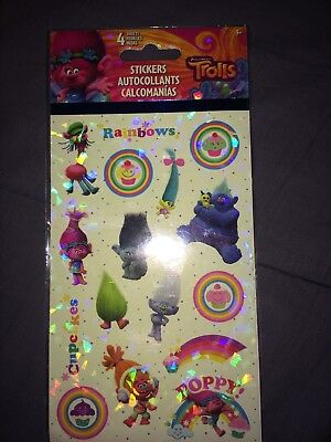 New 4 Sheets Of Trolls Stickers