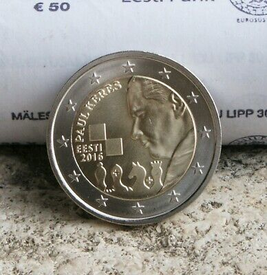 "Estonie Piece 2 Euro Commemorative 2016 ""100 Ans Naissance De Paul Keres"" Rare"
