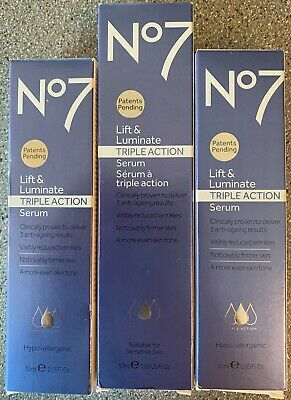 3 LOT Boots No7 Lift & Luminate Serum TRIPLE ACTION 1, 1.69ox & 2, 1.0oz tubes