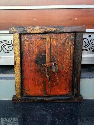 17c Antique Wood Hand Carved Painted House Window Door Framed With Antique Lock