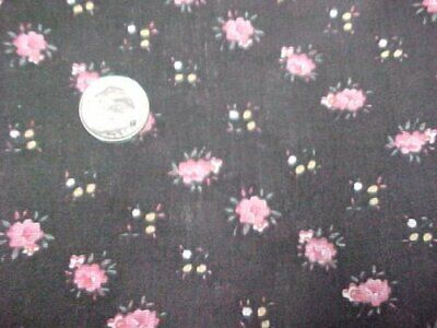 3 Yd Vintage Cotton Fabric Quilt Sew Material Tiny Pink Roses on Jet Black