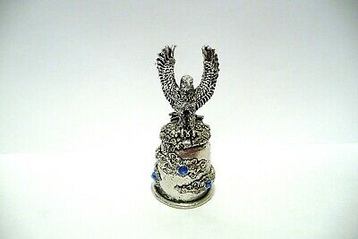 Thimble Pewter Comstock Topper Of An American Eagle Landing W/Blue Crystals