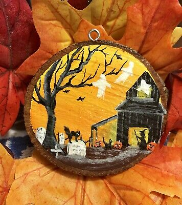Hand Painted Wood Halloween Ornament Black Cat Witch Ghost Graveyard Barn Jol