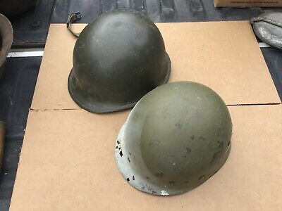 Antique old US WW2 Era M1 Helmet Swivel Bale chin strap Rear Seam w/ liner WWII