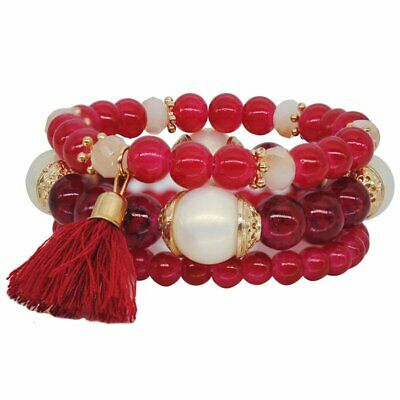 3Pcs Red Multilayer Natural Stone Crystal Bangle Tassel Beaded Bracelet Jewelry