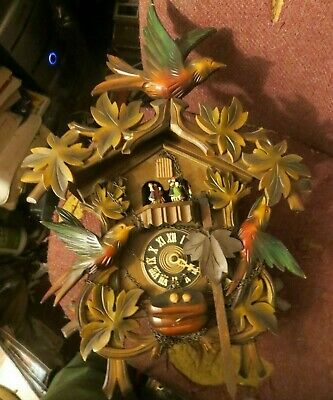 vintage Black Forest Cuckoo Clock Regula 25 West Germany Musical motion dancers