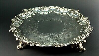 ~ Antique 1839 JOHN TAPLEY London Sterling Silver Salver Tray HEAVY - 894g