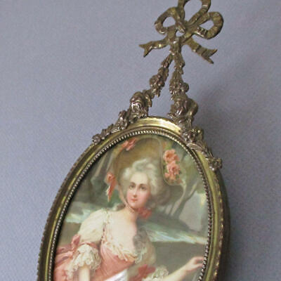 Antique Miniature French GILT Brass Frame Hanging BOW + ROSE Swags Portrait LADY