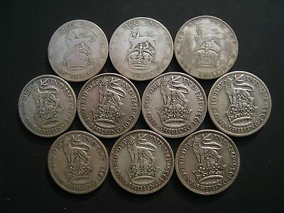 George V Shillings - 1920 1922 1926 1928 1929 1931 1933 1933 1935 & 1936 10 Coin