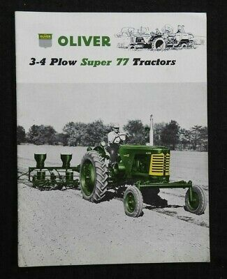 """1955 """"The Oliver 3-4 Plow Super 77 Tractor"""" Catalog Brochure Very Nice"""