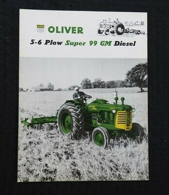 """1955 """"The Oliver 5-6 Plow Super 99 Gm Diesel Tractor"""" Catalog Brochure Very Nice"""