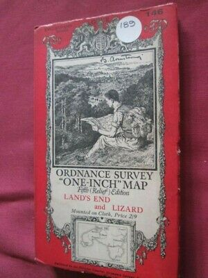 Ordnance Survey Contoured map No 146 Land's End and Lizard   cloth 1934 VGC