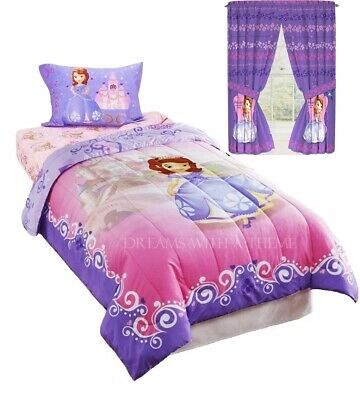 Disney Sofia the First Princess Girls Twin Size Comforter Sheet Set + Curtains