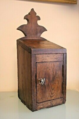Antique French Oak Church Collection Box with Key 21'' (54cm) Max Tall