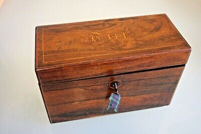 """Antique French Rosewood Two Compartment """"The'""""/Tea Caddy 5 1/4'' (14cm) Tall"""