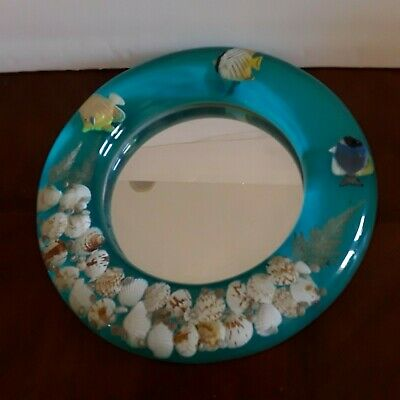 Kirch Lucite Sea Shell Framed Mirror Coastal Nautical Beach Decor Round Fish