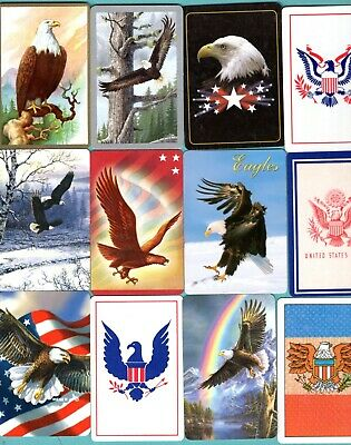 12 Single Swap Playing Cards EXCELLENT EAGLES ! BIRDS BALD AMERICAN SYMBOL