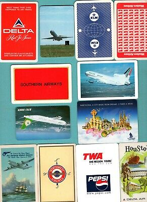 12 Single Swap Playing Cards AIRLINE ADS AIRPLANE SOUVENIRS SOME VINTAGE