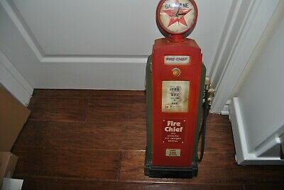 "Vintage Fire Chief Wooden Replica Gas Pump 24"" Tall Cabinet With Door"
