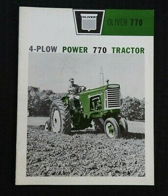 """1962 """"Oliver 4 Plow Power 770 Tractor"""" Row-Crop Orchard Wheatland Brochure Nice"""