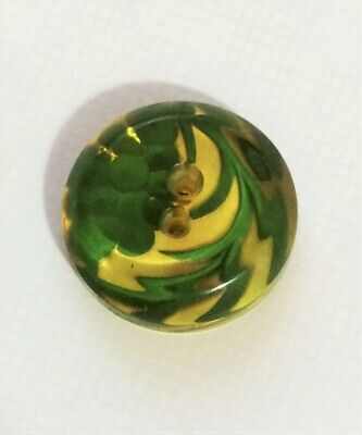 Vintage Reverse Carved Painted Bakelite Bunch of Grapes Button