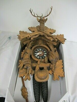 Vintage Germany Black Forest Cuckoo Clock Stag Hare Bird Rifles Hunters 8 Day