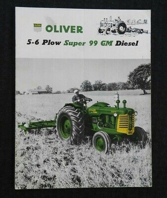 "1955 ""Oliver 5-6 Plow Super 99 Gm Diesel Tractor"" Brochure Catalog Very Good"