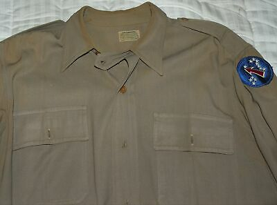 WORLD WAR II VINTAGE GABARDINE SHIRT with PACIFIC OCEAN AREA PATCH US ARMY