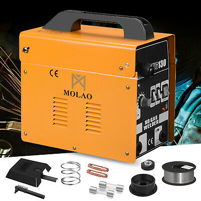 MIG 130 Welder Gas Less Flux Core Wire Automatic Feed Welding Machine w/Mask